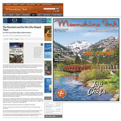 Review: Squaw Valley and Alpine Meadows: Tales From Two Valleys in Moonshine Ink Magazine, April 12, 2013