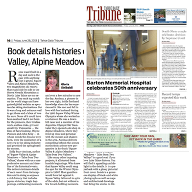 Review of Squaw Valley and Alpine Meadows: Tales From Two Valleys in the Tahoe Daily Tribune, June 28, 2013