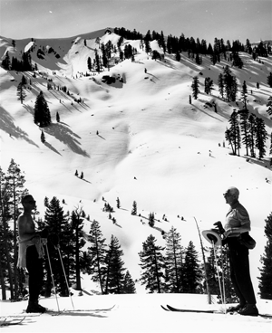 John Riley and son looking up Alpine Meadows | Photo: Don Wolter