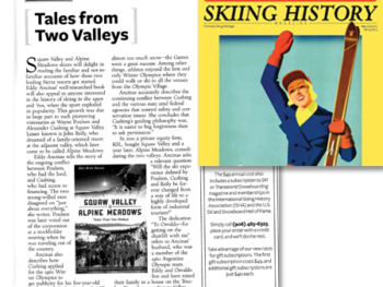 Review of Squaw Valley and Alpine Meadows: Tales From Two Valleys in Skiing History, May-June 2013