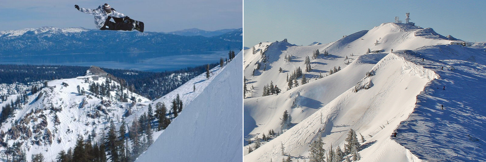 Squaw Valley in winter with Lake Tahoe in the background and Estelle Bowl at Alpine Meadows | Photo: Eddy Ancinas | Squaw Valley and Alpine Meadows: Tales from Two Valleys 70th Anniversary Edition